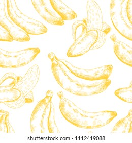 Abstract seamless pattern, wallpaper, background, backdrop. Yellow with white hand drawn banana. Vector sketch, tropical exotic fruit. Template for printing, packaging, advertising, web design, card