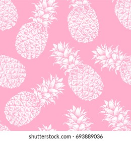 Abstract seamless pattern, wallpaper, background, backdrop. Pink with white hand drawn pineapple. Vector sketch, tropical exotic fruit. Template for printing, packaging, advertising, web design, card