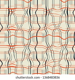 Abstract seamless pattern with warped stripes in plaid arrangement in orange, cream and black.