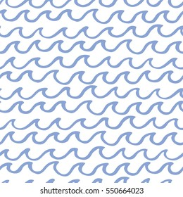 Abstract seamless pattern with waves. Design for backdrops with sea, rivers or water texture. Background for poster or cover. Figure for textiles.