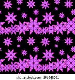 Abstract seamless pattern whit florel elements on black background