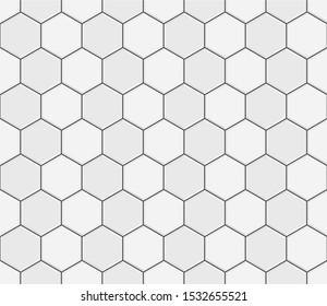 Abstract seamless pattern, white gray ceramic tiles floor. Concrete hexagonal paver blocks. Design geometric mosaic texture for the decoration of the bathroom, vector illustration