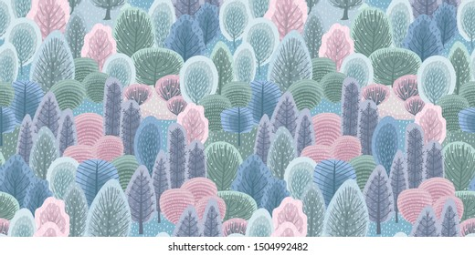 Abstract seamless pattern with winter forest. Trees, bushes, snow. Vector background for various surface. Trendy hand drawn textures.