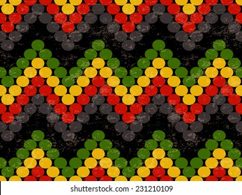 Abstract Seamless Pattern with Zig Zag Lines in Rasta Colors. Vector Illustration