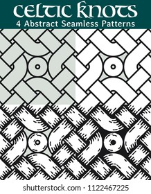 Abstract Seamless Patterns. 4 different versions of a seamless pattern with Celtic knots: with white filling, without filling, with shadows and with a black background.