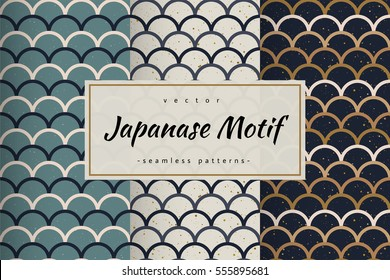 Abstract seamless patterns set. Japanese style, fish scale. Golden, blue, white colors and splash. Vector backgrounds for fabric, wallpaper and wrap.