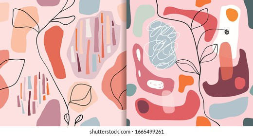 Abstract seamless patterns set with organic cut out shapes,wall decoration, trendy design