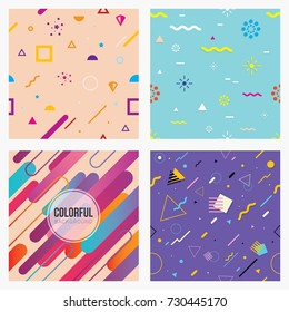 Abstract seamless patterns styles. colorful geometric background set