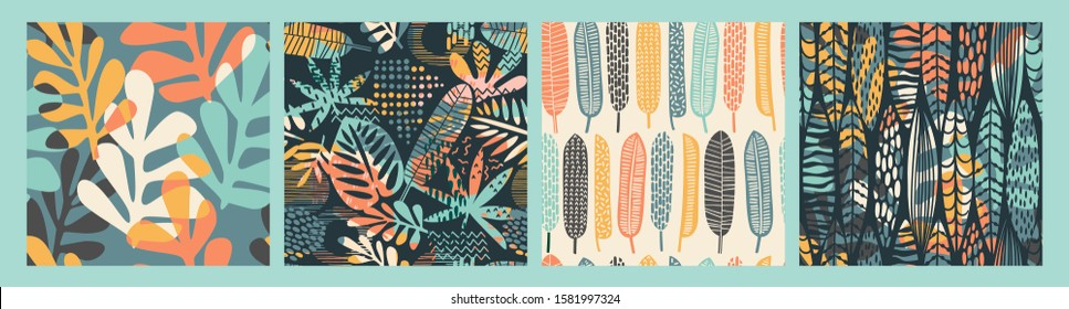 Abstract seamless patterns with tropical leaves and geometric shapes. Hand draw texture. Vector template.
