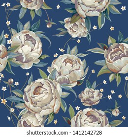 Abstract seamless peony pattern. Stylish elegance retro background with watercolor peonies flowers