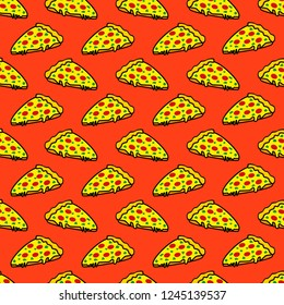 Abstract seamless pizza pattern for girls or boys. Creative vector background with italian pizza, tomatoes, . Funny wallpaper for textile and fabric. Fashion pizza style. Colorful bright picture
