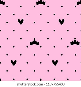 Abstract seamless princess pattern. colorful girlish repeated backdrop for textile, clothes, wrapping paper. sign crown and heart repeating ornament and dots on pink background. Valentine day ornament
