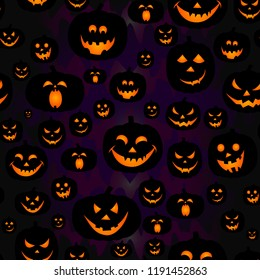 Abstract seamless pumpkin pattern for girls,boy, kids, halloween, clothes. Creative vector halloween pattern with pumpkin scary face, smile. Funny pumpkin pattern for textile and fabric. Fashion style
