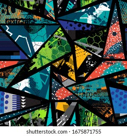 Abstract seamless repeated backdrop for sport textile, fashion clothes, wrapping paper. Grunge geometric repeats backdrop. graffiti style