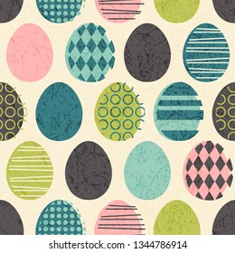 Abstract seamless retro Easter eggs pattern. Mid-century modern colors.