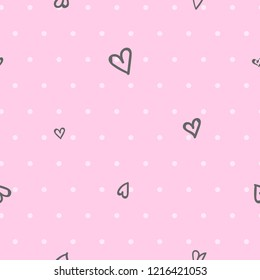Abstract seamless romantic pattern. hearts and pink dots repeat background. Valentine's day Repeated backdrop for girl, fashion textile, clothes, wrapping paper