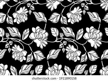 Abstract seamless rose flower pattern