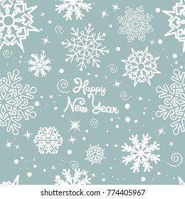 Abstract seamless snowflakes pattern for girls, boys. Creative vector background with snowflakes, congratulations. Funny wallpaper for textile and fabric. Fashion snowflakes style. Colorful bright