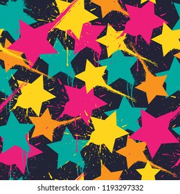Abstract seamless stars pattern . Tender wallpaper on black background. urban design for fashion, sport clothes. Modern background.