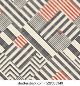 Abstract seamless striped  geometric  pattern on texture background in retro colors. Endless pattern can be used for ceramic tile, wallpaper, linoleum, textile, web page background.