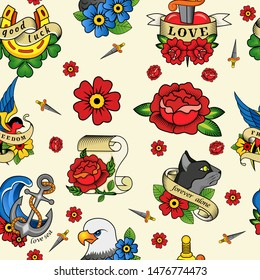 Abstract seamless tattoo pattern for girls, boys, clothes. Creative vector tattoo background with flower, sword, bird, anchor. Funny pattern wallpaper for textile and fabric. Fashion tattoo style.