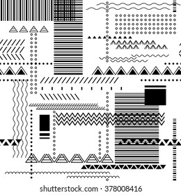 Abstract seamless techno background. Geometric pattern in white and black colors. Vector pattern for fabric print, paper design