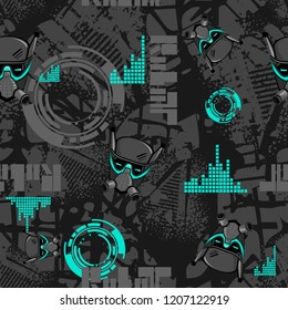 Abstract seamless technology pattern with robot face, textured repeated backdrop.
