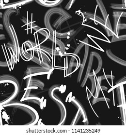 Abstract seamless text pattern. abc wallpaper. black and white background with text drawing in watercolor and graffiti style, spray paint ink elements. monochrome repeating backdrop for textile, paper