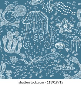 Abstract seamless texture with fish, hearts, flowers. Endless background.
