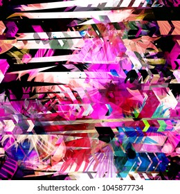 Abstract seamless texture with floral elements, arrows, stripes. Pink, white, black, blue colors. Abstract vector background for web page, banners backdrop, fabric, home decor, wrapping, girls design