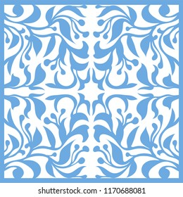 Abstract seamless tradition floral pattern. Blue Tile