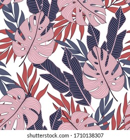Abstract seamless tropical pattern with bright plants and leaves on a delicate background.   Vector design. Jungle print. Floral background. Printing and textiles.