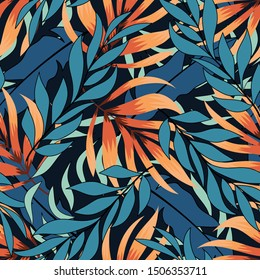 Abstract seamless tropical pattern with pastel plants and leaves.