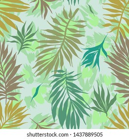 Abstract seamless tropical plants pattern. Hand drawn fantasy exotic sprigs with leopard skin background. Floral illustration made of herbal foliage leaves . Good for wallpaper, textile, fabric,
