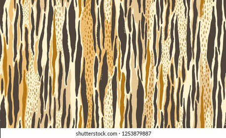 Abstract seamless unusual pattern of vertical lines in tiger skin style. Vector hand drawn illustration, wild african print.