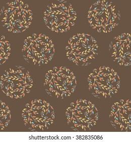 Abstract seamless vector background. Floral ornament. Circles.