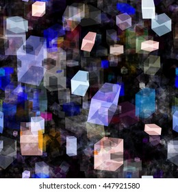 Abstract seamless vector background. Hexagons, box, parallelepiped. Overlay transparency, overlap. For fabrics, wrapping paper, printing.