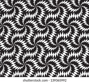 Abstract seamless vector black and white inverted pattern with stylized thorny six stars