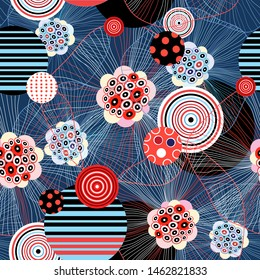 Abstract seamless vector fantastic pattern of unusual elements. Design template for wallpaper or fabric.