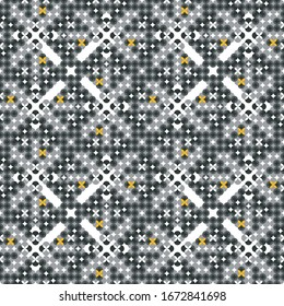 Abstract seamless vector pattern created of small circles in grey with little gold flowers. Regular geometric design for wallpapers, interior textiles and packaging.