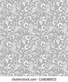 Abstract seamless vector pattern. Floral. White gradient, isolated on gray background