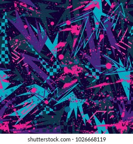 Abstract seamless vector pattern for girls, boys, clothes. Creative background with dots, geometric figures Funny wallpaper for textile and fabric. Fashion style. Colorful bright.