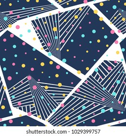 Abstract seamless vector pattern for girls, boys, clothes. Creative background with dots, geometric figures. Funny wallpaper for textile and fabric. Fashion style. Colorful bright.