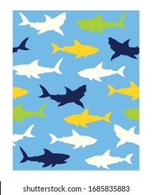 Abstract seamless vector pattern for girls, boys, clothes. Creative background with sharks. Funny wallpaper for textile and fabric. Fashion style.