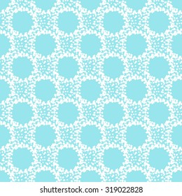 Abstract seamless vector pattern. Grunge splash texture forming circles. Hand drawn spots or stains. Winter colors, blue and white.