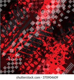 Abstract Seamless vector pattern with Grunge Tire Tracks on red background. pattern for boy