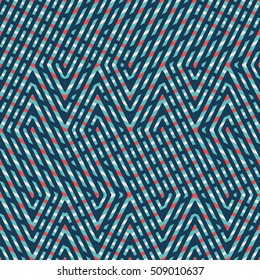 Abstract seamless vector pattern of intersecting diagonal ornaments, pattern swatch included in file; four colors.