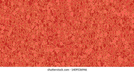 Abstract seamless vector pattern. Surface with cracks. Old stone wall. Pealing paint. Orange and yellow. Isolated background