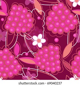 abstract seamless vector texture in red colors with raspberry and flowers