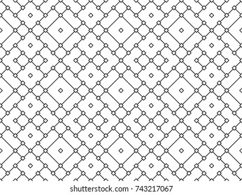 Abstract Seamless white and black Art Deco Lattice Vector Pattern. Square diagonal line